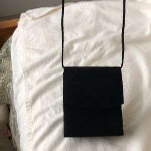 Black silk evening bag